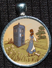 Disney Princess Belle Doctor Who Tardis Time Lord Police Box Pendant Necklace