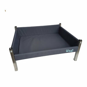 Henry Wag Grey Elevated Framed Dog Bed Raised Strong Sofa Pet Bed Dog Mat Liner