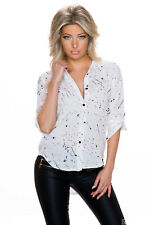 Shirt blouse Top Gymnastic up Sleeves white patterned Party Office 34 36