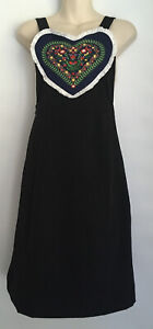 Bea & Dot By Modcloth Ladies Black Sleeveless Embroidered Heart A Line Dress S