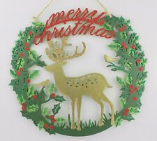 GISELA GRAHAM CHRISTMAS WOOD HOLLY WREATH WITH REINDEER ROBIN PLAQUE