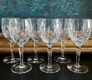 """Set Of 6 LADY ANNE Gorham Crystal Wine Goblets Glasses 6 7/8"""" Signed •EXCELLENT"""