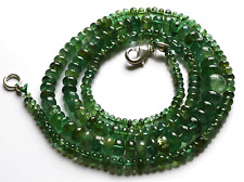 "99.CT 21"" Natural Green Zambia Emerald Smooth Rondelle beads Necklace 2.5.- 8 MM"