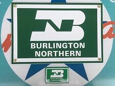 BURLINGTON NORTHERN RR PORCELAIN coated 18 GAUGE STEEL sign -  INCLUDES magnet