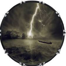 """22"""" Custom Bass Kick Drum Front Head Graphic Graphical Thunderstorm 1"""