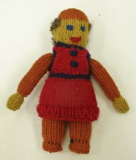 Vintage Knit Doll Person Handmade RM Pollack Art Red Orange Yellow