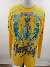 Christian Audigier Mens Yellow Charmed Life Gold Long Sleeve T Shirt 4XL XL XXL