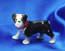 Antique Iron Hubley Boston Terrier Paperweight Bully dog w Nice Red collar