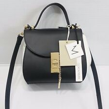 GIORGIA MILANI Made in Italy Crossbody Black White Structured Top Handle Leather