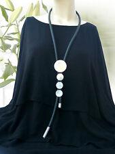 LAGENLOOK lange XXL Schmuck Halskette Aluminium Kautschuk-Kette schwarz silber