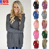 Women Long Sleeve Round Neck Pullover Blouse Tops T Shirt Casual Pocket Tops US
