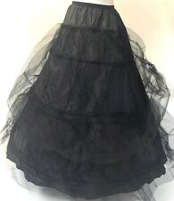 Raven Gothic Steampunk Victorian Boned Hoop SkirWith Layers Black Tula Net Over
