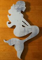 Distressed Wood Mermaid Wall Art Sculpture Beach Home Decor Sign White Gray NEW