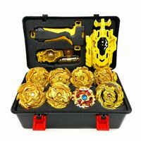 8pcs Golden Beyblade Set Gyro Burst With Launcher Portable Storage Box Kids Gift