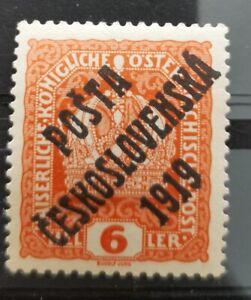 CZECHOSLOVAKIA 1919 6h black overprint