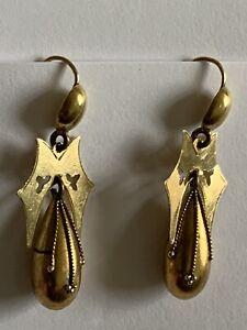 Finest Victorian 15ct Gold Pendant Drop Earrings Circa 1880