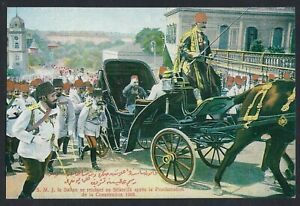 TURKEY 1908 OTTOMAN SULTAN SALUTING THE CROWDS AFTER PROCLAMATION