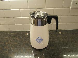 VINTAGE CORNING WARE BLUE CORNFLOWER/STOVE TOP/9 CUP PERCOLATOR COFFEE POT