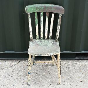A Vintage Antique Wooden Stick Back Artists Chair Featuring Paint Splatters