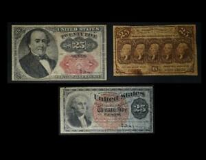 25 Cent Fractional Currency Notes Set of 3 Different No Reserve Auction 99C Open