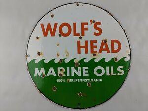"""VINTAGE WOLF'S HEAD MARINE OILS MOTOR 11.75"""" PORCELAIN METAL SIGN GASOLINE PUMP"""