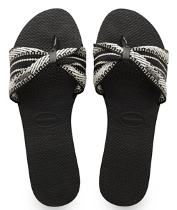 Havaianas Women`s Flip Flops You St Tropez Fita Sandals Black Sandal AnySize NWT