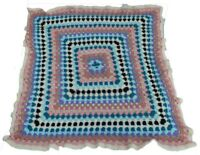 "Hand Made Afghan Throw Blanket Crochet Crafted Multi Color Squares 42""x43"""