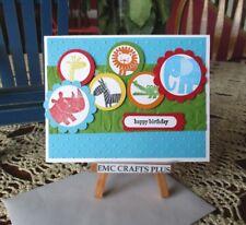 HAPPY BIRTHDAY~ CHILD ~ HANDMADE GREETING CARD #emc72 ELEPHANT,LION,ZEBRA