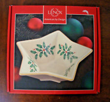 "Lenox Holiday Star Bowl Candy Nut Dish Holly and Berries 8"" Nib"