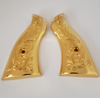 Custom Smith & Wesson Scroll Metal Grips  K-Frame Square Butt  Gold plated #3