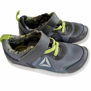 Reebok Peek N' Fit Ortholite Toddler Boy 9 Shoes Gray Mesh Green Lace Hook Loop