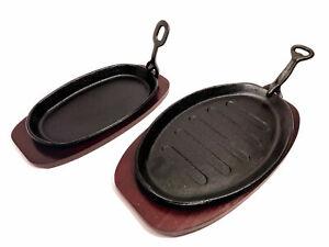 Heavy Duty Steak Fajita Sizzler Sizzling Serving Platter Plate Dish Wooden Base