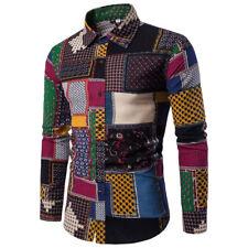 Mens Fashion Casual Long Sleeve Shirt Business Slim Fit Shirt Print Blouse Top