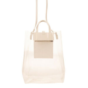RRP €410 ACNE STUDIOS Tote Bag Large Transparent Detachable Strap Made in Italy