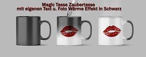 Magic Tasse Zaubertasse mit eigenen Text u. Foto / Bild Wärme Effekt Schwarz