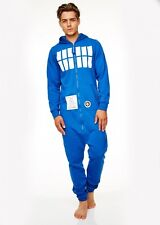 Mens Official Doctor Who Tardis Onesie Jumpsuit Sweat Hoodie Pyjamas BBC Dr Who