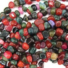 "8-10mm watermelon tourmaline agate nugget beads 31"" strand"