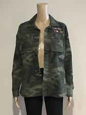 Abercrombie & Fitch Women's Oversize Patch Military Shirt Jacket L Olive NWT
