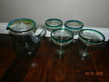 Hand Blown Mexican Bubble Glass Margarita Pitcher + 4 Glasses Blue-green-yellow