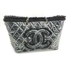 CHANEL CC logo Quilted Black Fur Furry Clear Patent Vinyl Tote Purse 55614979