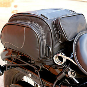 Motorcycle Bike Tail Seat Bag Luggage Helmet Pack Case PU leather w/ Water Cover