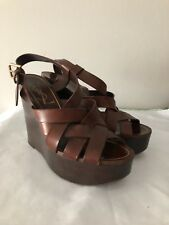 YVES SAINT LAURENT PLATFORM WEDGE SANDALS SZ 38