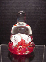 Joe St Clair Paperweight Bell Shape Red White Flowers Controlled Bubble