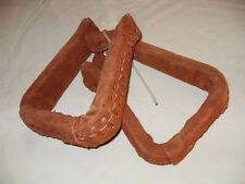 "NEW ROUGH OUT LEATHER WESTERN STIRRUPS 5"" FULLY LEATHER COVERED"