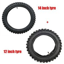 """60/100- 14"""" Front 80/100- 12"""" Inch Rear Knobby Tyre Tire + Tube PIT Dirt Bike"""
