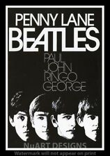 """Framed Vintage Style Rock 'n' Roll Poster """"THE BEATLES - PENNY LANE""""; 12x18"""