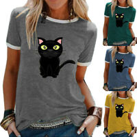 Womens Kitten Short Sleeve Blouse Loose Tee Holiday Ladies Tops Summer T-shirt