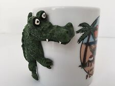 LIFE'S A CROC FLORIDA 12 oz Coffee Mug White Souvenir Cup 3 D Croc Alligator