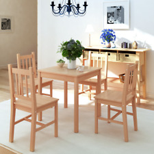 Kitchen Table set 4 Chairs Wooden Dining Room Wood Furniture Small Student Brown