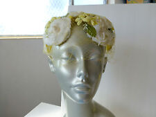 Vintage Yellow & White Silk Floral HALF HAT church easter 50s netting